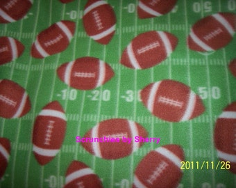 Footballs on Green  Fleece Baby Blanket Hand Tied Pet Lap Security Shower Gift Baby Boy