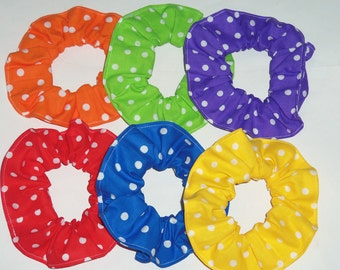 Six Bright Colored Polka Dots Hair Scrunchies Scrunchie Red Blue Orange Purple Yellow Green