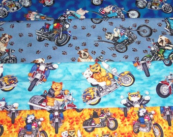 4 Cats Pigs Hogs Dogs on Bike Motorcycles Fabric Hair Scrunchie Scrunchies Ties Bikers