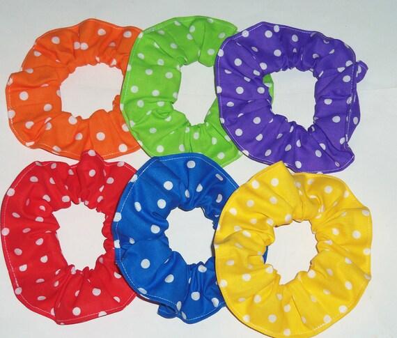 Six Bright Colored Polka Dots Hair Scrunchies Scrunchie Red