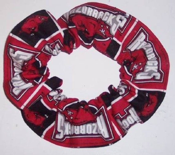 University of Arkansas Hogs Razorbacks Fabric hair Ties Scrunchie Scrunchie