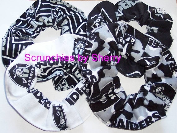 Oakland Raiders Fabric Hair Scrunchie Scrunchies by Sherry Black White Cotton Duck Cloth Camo  NFL Football