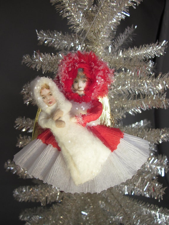 Spun Cotton Angel with Her Doll- Red and White