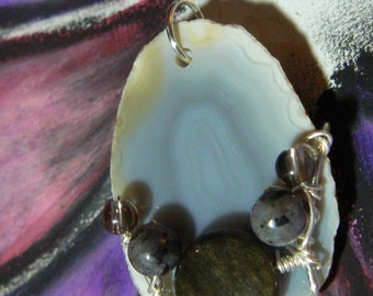Ancient Film Vault - agate smoky quartz rainbow obsidian silver pendant necklace larkivite larvikite