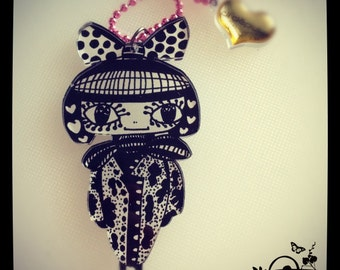 Acrylic Plexiglass necklace printed laser cut ''GEISHA'' Kawaii