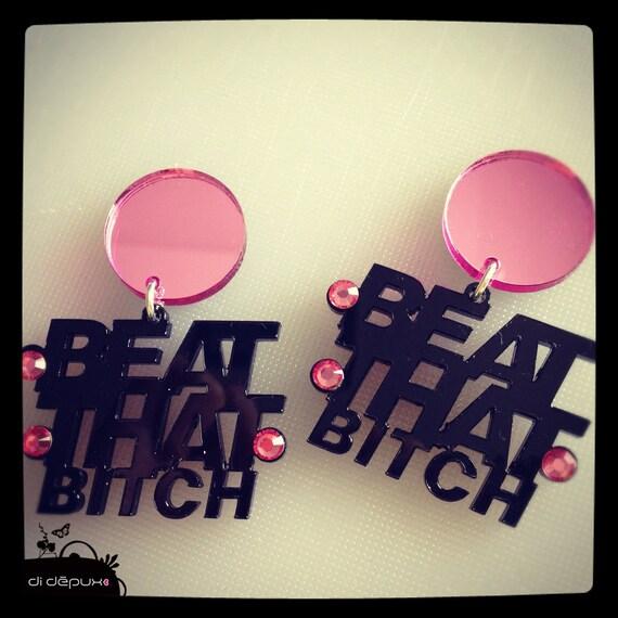 Black & Pink mirror ''beat that bitch'' stud with pink swarovski crystals