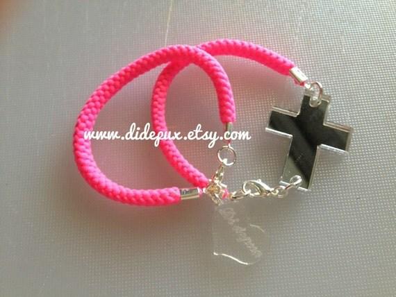 Cross pink Neon Bracelet (set of two) silver cross
