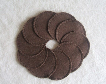 Reusable Cotton Rounds Chocolate Brown Make Up Pads, Ready to ship, Cosmetic Facial Wipes