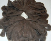 Baby Llama Roving Yarn for Spinning, Felting and Doll Hair in Gray Brown from Prince 4 oz.