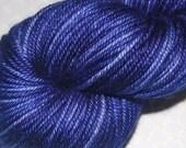 DK Weight Sock Yarn Skein, Silky Super Wash 50/50 Merino/Silk Wool, 4 Ply, Hand Dyed in Shades of Periwinkle - SALE  3.7 oz. 231 Yards