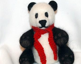 Panda Bear, Keepsake Panda Bear, needle felted Panda Bear, soft sculpture bear, needle felted alpaca fiber, bear spirit guide