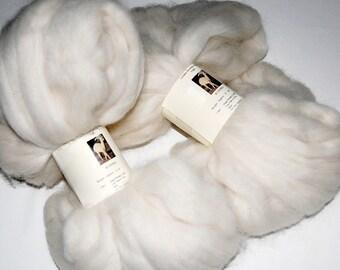 Alpaca Roving, Alpaca Fiber, Spinning Fiber, Felting Fiber, Doll Hair from our own alpaca, Yuki, White Alpaca 8 oz.