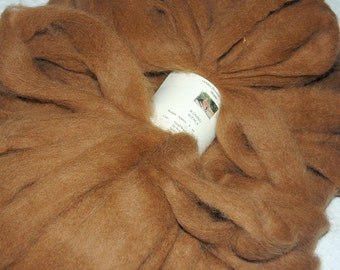 Alpaca Fiber Roving Batt Yarn for Spinning and Felting in a luscious dark fawn brown from Mojito 4 oz.