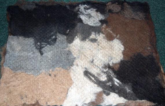 Alpaca Felted Fabric, Fiber Art, Dog Bed, Cat Bed, Wall Hanging, Blanket, Quilt, Rug 3'X4', 1 lb. 11.6 oz.