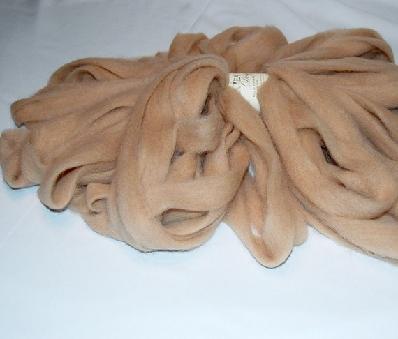 Baby Alpaca Light Fawn Roving for Spinning and Felting from Padre 4 oz.