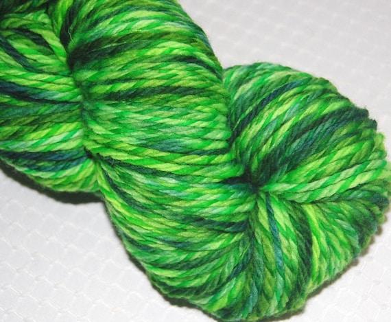 Sale Yarn - Wool Worsted Weight Sock Yarn, Hand Dyed Merino Tweed Wool in Randomly Variegated Green and Teal 4.0 oz. 200 yards