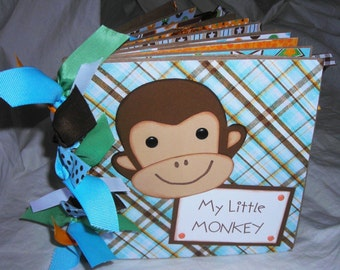 MY LITTLE MONKEY boy Premade Scrapbook PaPeR BaG ALbUm