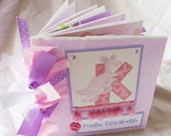 PeRSoNALiZeD BABY GIRL premade PaPeR BaG Scrapbook Album -- also available in boy version
