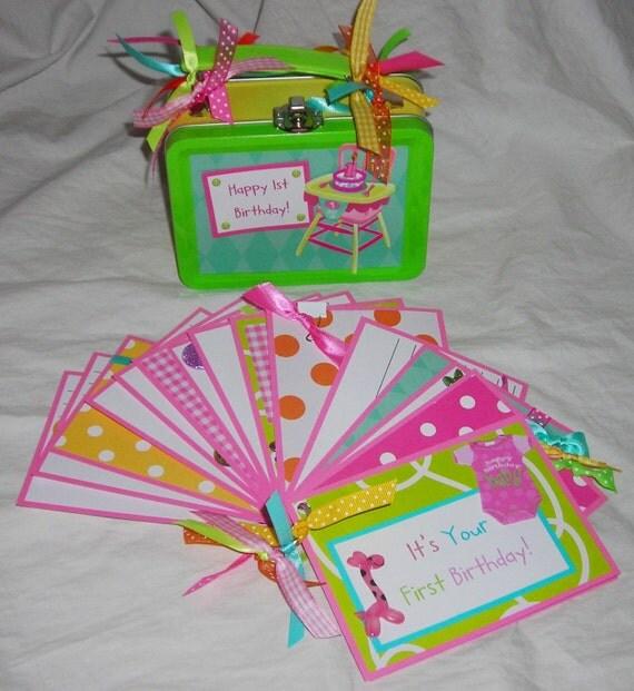 BaBy GiRL FIRST BIRTHDAY Keepsake Lunch BOX And Premade