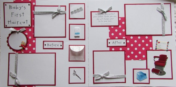 BABY'S FIRST HAIRCUT boy girl 12x12 Premade Scrapbook Pages
