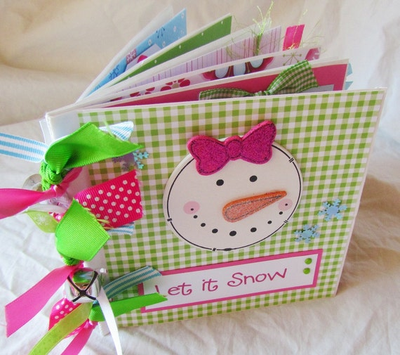Mini Premade Scrapbook Album - Paper Bag Book - winter -LeT iT SnOW -- BoY OR GiRL snowman {you choose}