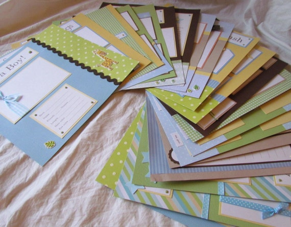 20 BABY BOY premade Scrapbook Pages for 12x12 FiRsT YeAr ALbUm -- soft-n-sweet jungle--