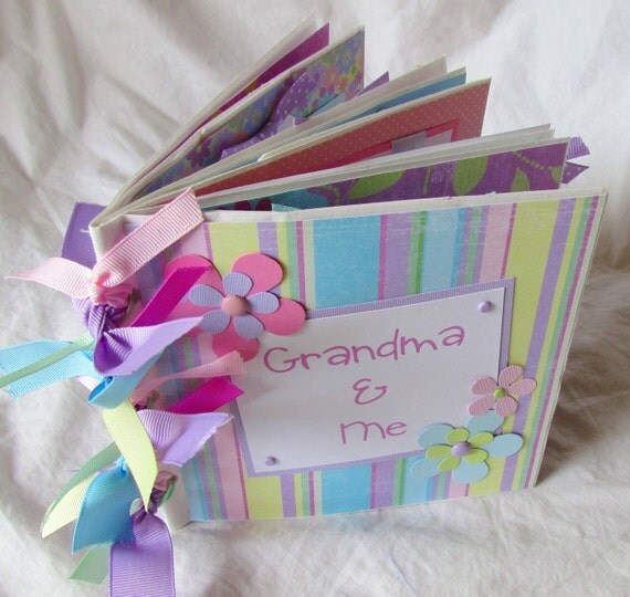 Mini Scrapbook Album -- GRANDMA and ME -- premade paper bag album - Grandma's Brag Book, grandmother, baby, girl, kid, granny. mawmaw