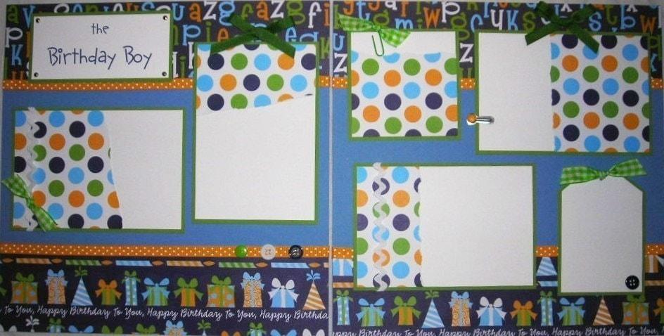 the BIRTHDAY BOY 12x12 Premade Scrapbook Pages by JourneysOfJoy