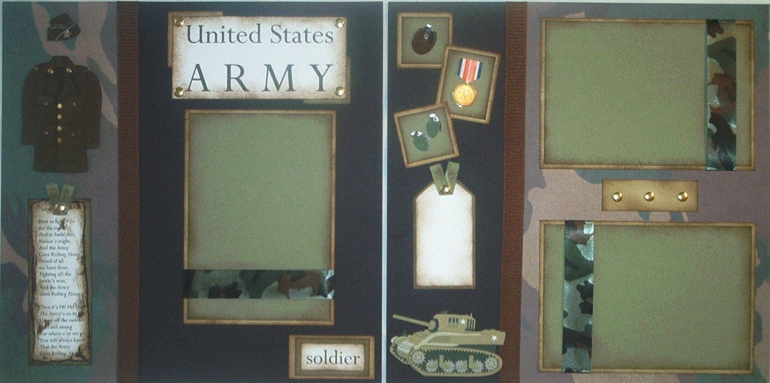 Army Military Soldier 12x12 Premade Scrapbook Pages