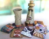 Tiki Coasters by Velvet Glass - Custom Set of 4