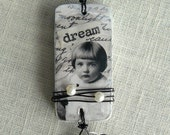 """Vintage Girl """"Dream"""" Altered Domino Necklace"""