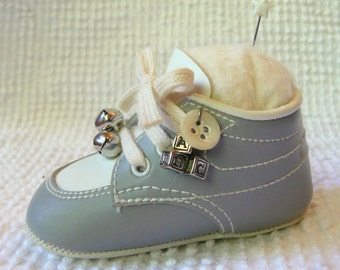 Vintage Blue and White Baby Shoe Fashioned into a Delightful Pin Cushion