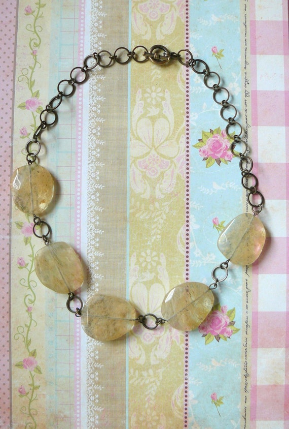 Great Chunky Sandy Stone Necklace on Linked Chain