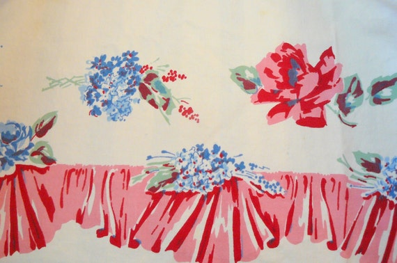 Vintage Red, Pink and Blue Floral Table Cloth