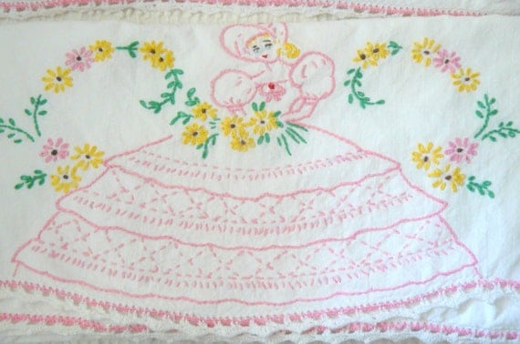 One Pair of Vintage Hand Embroidered Pillow Cases- vintage girl with pink dress
