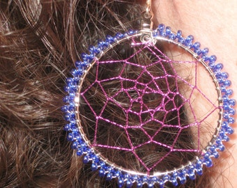 HONOR THE EARTH, Native American Inspired Dream catcher earrings with glass beads and metallic thread
