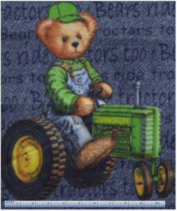 John Deere Teddy Bears : Yard john deere tractor teddy bear fleece fabric