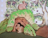 Waldorf Wooden Nature Toy Stacker - Bunnies with Tree Trunk Home in the Bushes - 7 pc set
