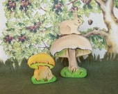 Waldorf Wooden Nature Toys -  Little Cottontail with Mushrooms, a 3 piece set