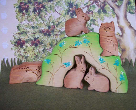 Waldorf Inspired Wooden Nature Toy Puzzle Stacker - Forrest Animals - 6 pc set
