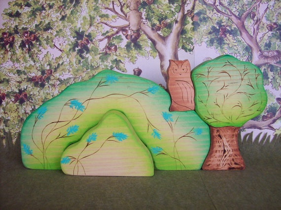 My Favorite Hill with hidden door, Tree and Mr. Owl - Waldorf Inspired Wooden Nature Toys - 4 pc set