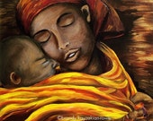 Hush Little One art print - African American Mother and Child painting