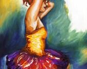 Ballerina MINI Art Print - 5.5x8.5 archival matte print - Sultry Rustic Yellow, tutu, ballet dancer
