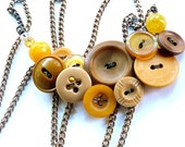 Very Long Vintage Button Necklace in Yellow Mustard Color - Free Shipping Etsy Sale