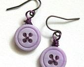 Small Lavender Vintage Button Dangle Earrings