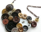 Big Repurposed Vintage Button Statement Necklace in Shades of Brown, Tan, and White