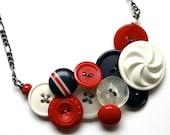 Nautical Swirl Vintage Button Statement Necklace