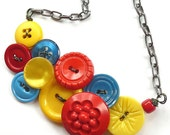 Primary Colors Vintage Button Statement Necklace: Bright Red, Yellow, and Blue