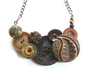 Earthy Tribal Brown Vintage Button Large Statement Necklace - Rustic Woodland Harvest -Free Shipping Sale