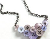 Button Jewelry Necklace in Orchid Hush Light Purple Lilac Lavender